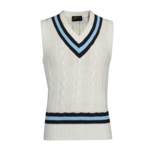 Sleeveless Cricket Sweater with Stripe