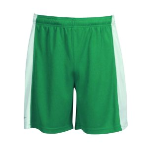sport shorts front view side panel design green & white design