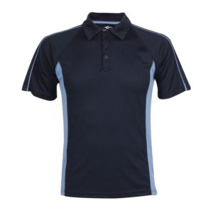 school sports polo with contrast panels front view