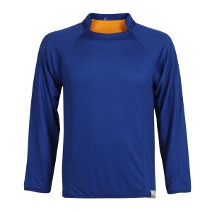 school sports reversible long sleeve shirt navy front view
