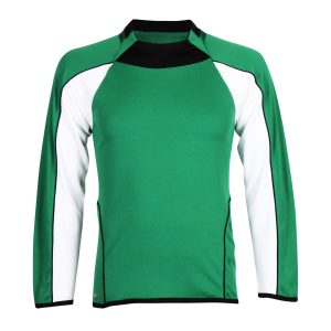 school sports long sleeve football shirt green and white front view