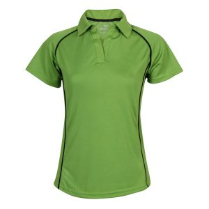 School Green Polo Shirt Open Button Front View