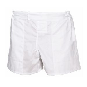 White School Sports Pro Rugby Shorts Front View