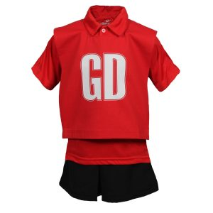 Red and Black Primary School Netball Kit