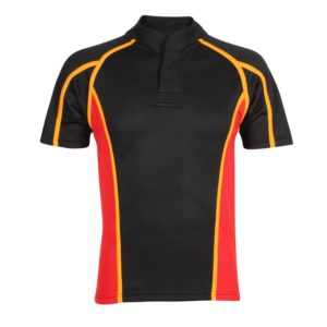 Short Sleeved Button Neck Rugby Shirt with Trim and Panels