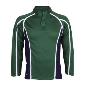 Long Sleeved Button Neck Rugby Shirt with Trim and Panels