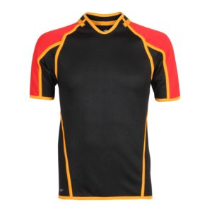 Short Sleeved Curved V-Neck Rugby Shirt with Trim and Panels
