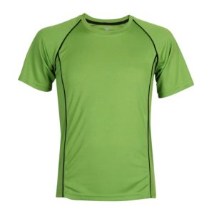 front view green sports school top with piping