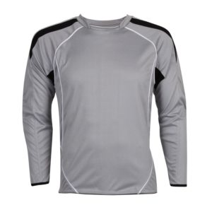 silver school goalie shirt with padded arms front view