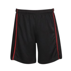 mesh sports shorts for schools front view with piping
