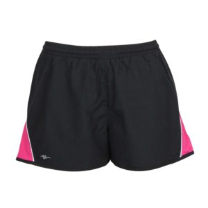 microtech sports shorts with corner detail design front view